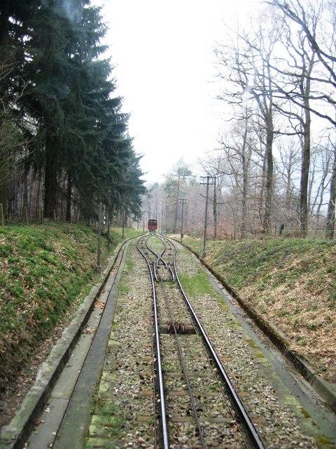 Ausweichstelle für die Seilbahn (Passing point on the funicular)