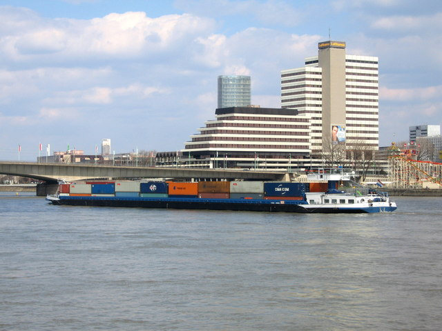 Container barge passing through Koln