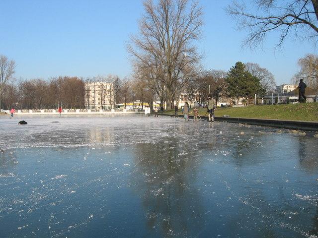 Frozen park lake