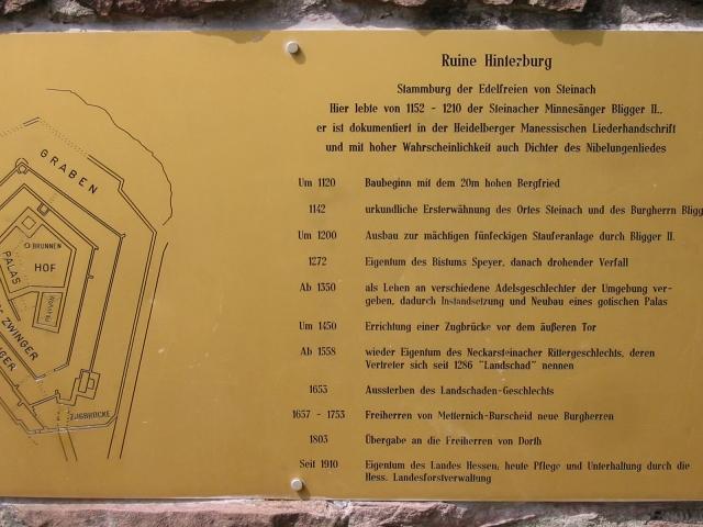 Plakette, Ruine Hinterburg, Neckarsteinach