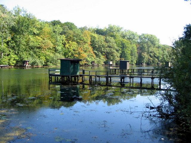 Anglerhütten am Wörther Altwasser