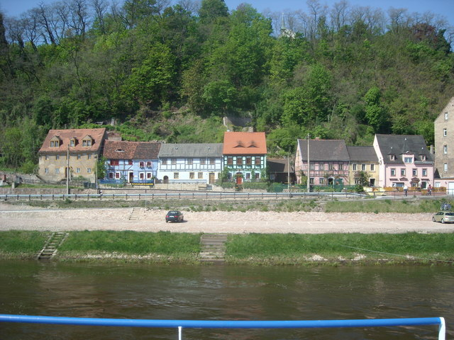 Westbank houses on the River Elbe at Meissen