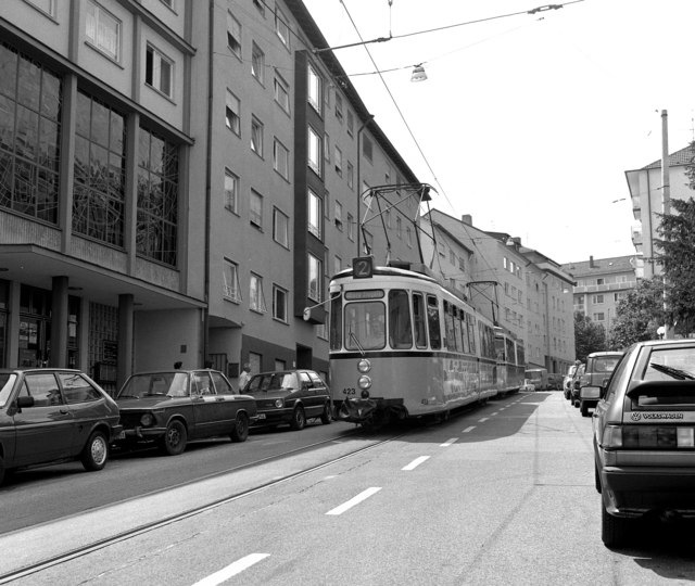Metre-gauge trams on Hoelderlinstrasse