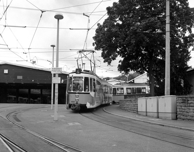 Metre gauge trams at Vogelsang terminus
