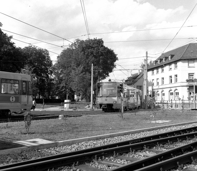 Standard-gauge Stadtbahn cars at Vaihingen
