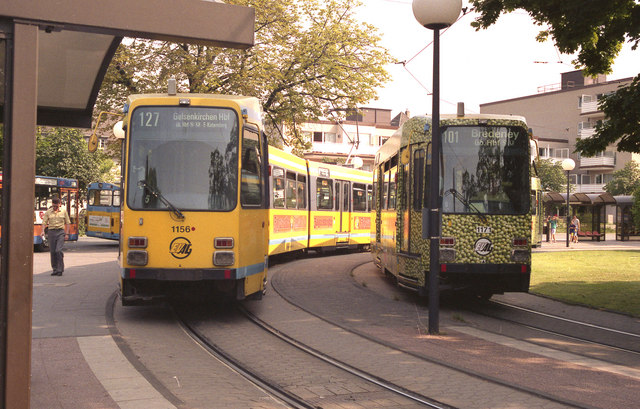 Two trams (one of them covered in peas) at Bredeney