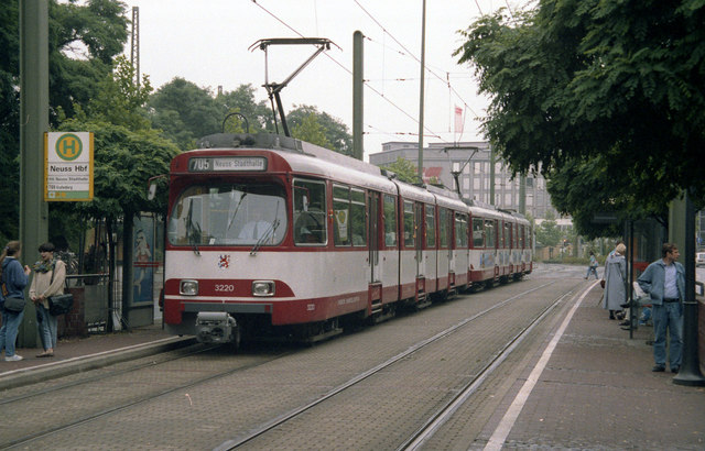 Coupled trams outside Neuss Hbf