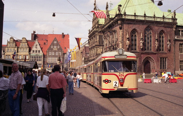 Tram on Route 2 near Bremen Rathaus