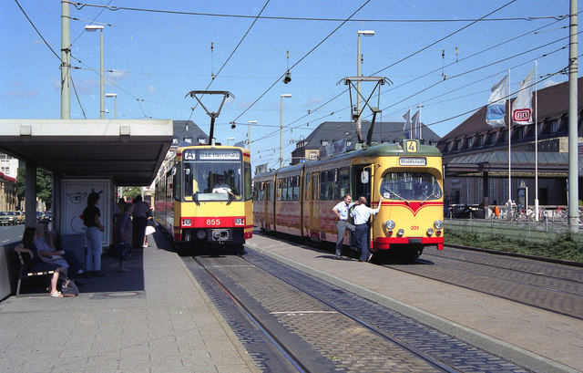 Trams outside Karlsruhe Hbf