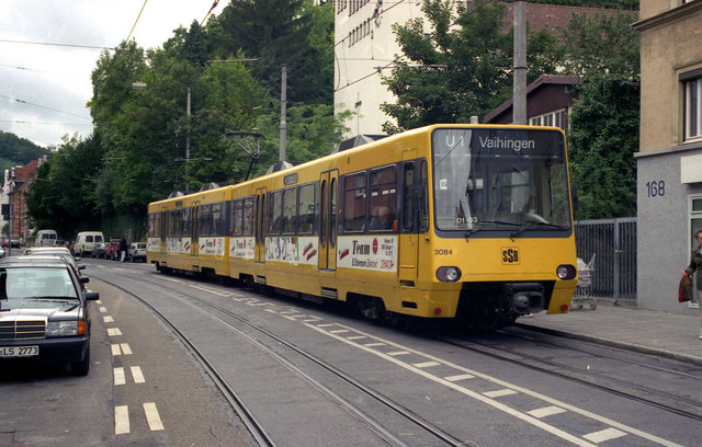 Stadtbahn on the street in Stuttgart