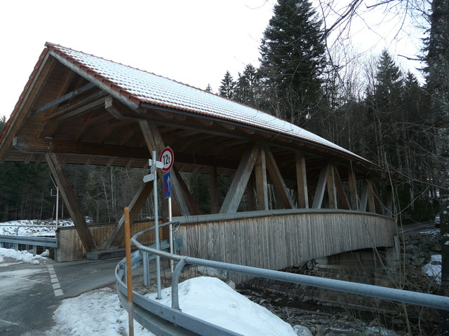 Holzbrücke  bei Obermaiselstein (Covered bridge near Obermaiselstein)