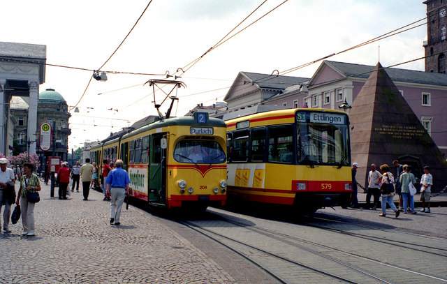 Tram and Stadtbahn car at the Pyramid
