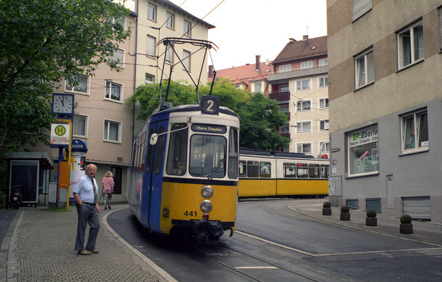 Trams at Hoelderlinplatz