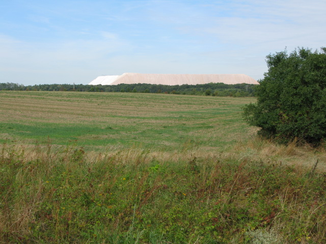 View across the fields to the mounds from the granite works