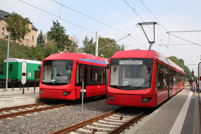 Trams in Stollberg  station