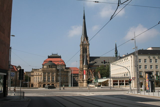Chemnitz:  Opera and St. Petri-Lukas Church