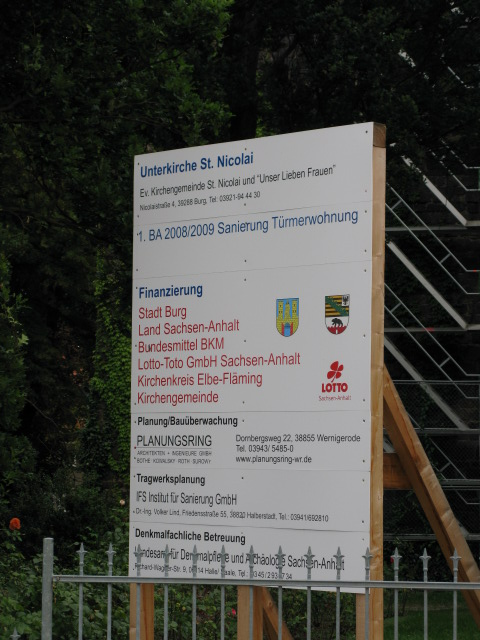 Notice board showing sponsors for Unterkirche St Nicolai repairs