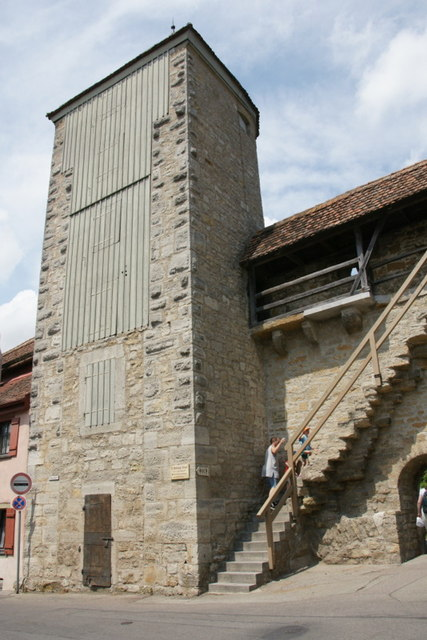 Pulverturm auf der Stadtmauer, Rothenburg o d Tauber (Pulverturm on the city walls, Rothenburg o d Tauber)