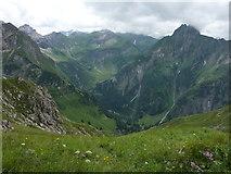 Blick vom Laufbacher-Eck-Weg zur Käseralpe