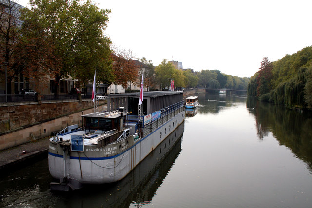 Heilbronn:  River Neckar with theater ship