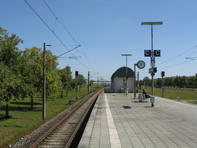 View east from Besucherpark S-Bahn station