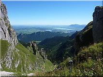 Blick von der Bad Kissinger Hütte ins Alpenvorland