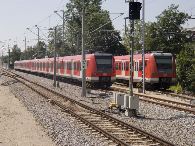 S-Bahn trains at Dachau Station
