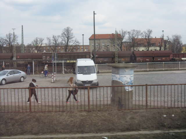 Travellers leaving Guben station