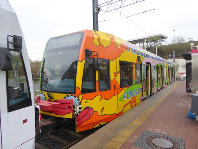 Colourful tram at Weiden West terminus