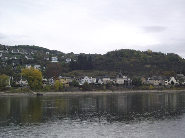 Looking across the Rhine to the buildings along Linzhausenstrasse